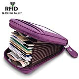 Genuine Leather Accordion Wallet for Men and Women, Credit Card Holder/Wallet for Travel and Work, for Business Cards, and Driver License, RFID Blocking Wallet for Bank Card and Cash Small Purple