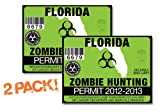 Florida-ZOMBIE HUNTING PERMIT TAG-2 PACK-DECAL STICKER-LICENSE-2012/2013-FL
