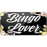 Floral Border Bingo Lover Metal License Plate 6X12 Inch