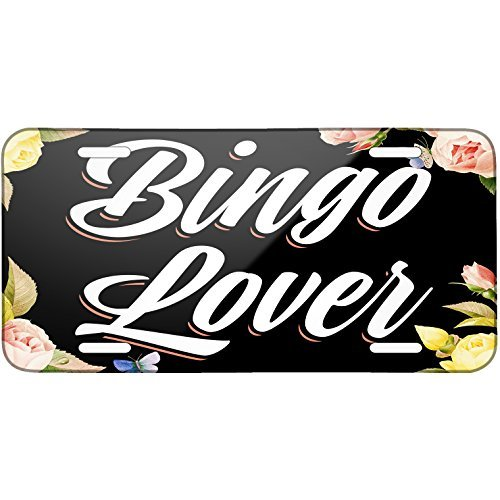 Floral Border Bingo Lover Metal License Plate 6X12 Inch