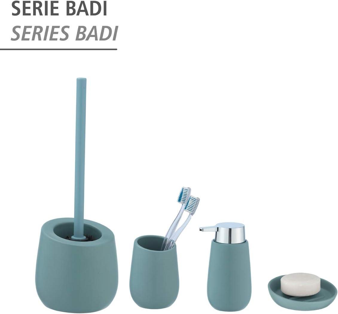 Beige Ceramica Wenko Badi-Portaspazzolino da Denti per spazzolino e dentifricio 8 x 11 x 8 cm