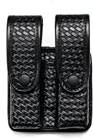 Uncle Mike's Mirage Basketweave Double Stack Duty Divided Double Mag Case, B