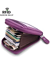 Small Credit Card Wallet Genuine Leather Credit Card Holder RFID Credit Card Case for Women Credit Card Purse Organizer Ladies Security Wallets with ID Window, Purple 03