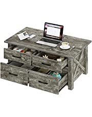 Rolanstar Coffee Table with Storage, Rustic Coffee Table with Drawers and Open Shelf, Farmhouse Central Table for Living Room, Grey