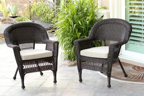 Jeco Wicker Chair with Tan Cushion, Set of 2, Espresso