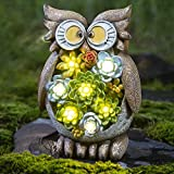 GIGALUMI Owl Garden Figurines Outdoor Decor; Waterproof Resin Succulent Plants with 7 LED Outdoor Solar Statues Lights for Lawn、Patio、Yard、Garden、Path、Walkway or Driveway.