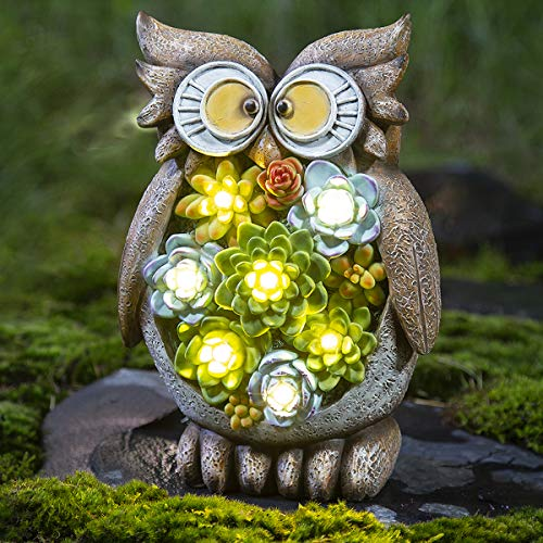 GIGALUMI Owl Garden Figurines Outdoor Decor; Waterproof Resin Succulent Plants with 7 LED Outdoor Solar Statues Lights for Lawn、Patio、Yard、Garden、Path、Walkway or Driveway. (Patio Lights Owl)