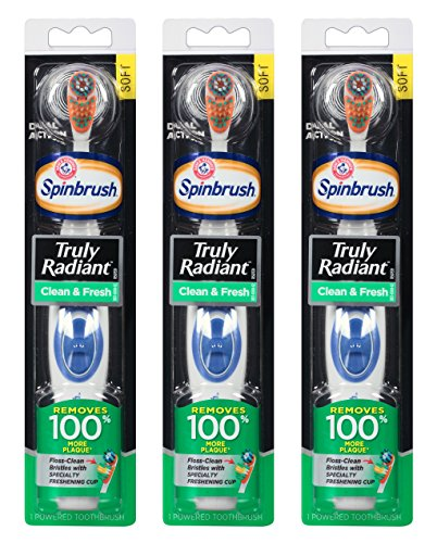 Arm & Hammer Spinbrush Battery Powered Toothbrush – Truly Radiant – Clean & Fresh – Soft Bristles – 1 Count Per Package – Pack of 3 Packages (Colors Vary)