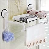 MDRW-Towel Rack Strong Suction Cup Type Bathroom Double Towel Bar Bathroom Accessoriesroom Suction Wall Hanging Rack Storage Rack 402521Cm