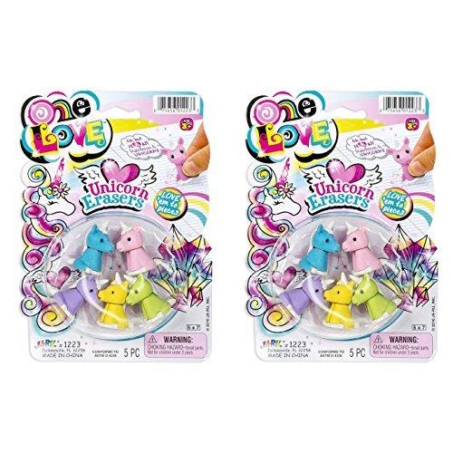 - 5 Pc Mix n Match Rainbows and Unicorns Unicorn Eraser Sets, Set of 2 Packages