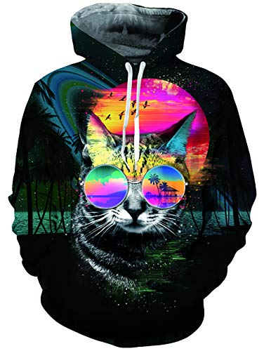 TUONROAD 3D Print Graphic Hoodies Funny Creative Pullover Tropical Coconut Tree Sunglasses Pussycat Red Sunset Space Universe Autumn Causal Hooded Sweatshirts with Adjustable Drawstring Big ()