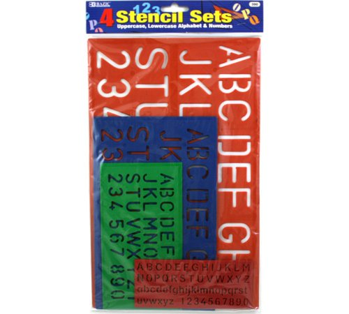 BAZIC 10, 17, 27, 40 mm Size Lettering Stencil Sets,