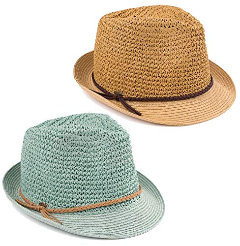 H-6108-2-3323254 Fedora Bundle - Mint/Beige Rope & Dk. NAT/Brown Rope (2 PK) (Hat Trim Bucket)