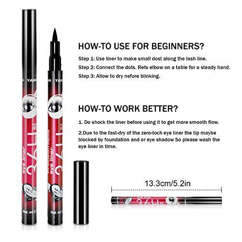 4Pcs Eyeliner Pens,Waterproof Eyeliner,Long Lasting Drama 36H Liquid Eyes Pen Eye Liner Pencil (Purple,Black,Brown and Blue)