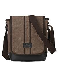 Eshow Men Canvas Crossbody Shoulder Messenger Bag Purse for iPad Business Bag Brown