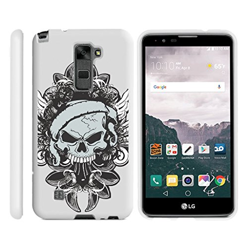 Miniturtle [LG Stylus 2 Case, LG G Stylo 2 Slim Cover][Snap Shell] Slim 2 Piece Protector Rubberized Hard Snap On White Case - Demon Skull (Rubberized Snap White Skulls)