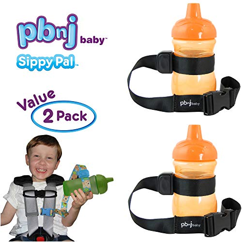PBnJ Baby SippyPal Sippy Cup Holder Strap Leash Tether (Black 2-Pack) from PBnJ Baby