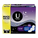 U by Kotex Security Maxi Overnight Pads with Wings, Regular, 70 Count