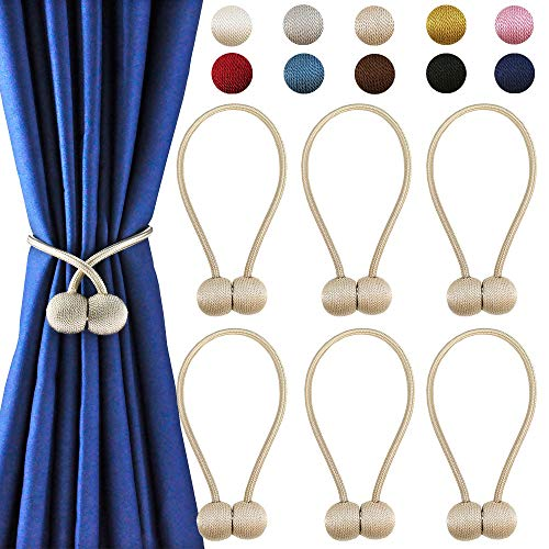 - DELISIx 3 Pairs Magnetic Curtain Tieback 16 Inch Decorative Rope Holdback Simple Modern Tie Backs Holders for Home Curtains, Beige