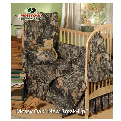 Mossy Oak New Break Up Camo - 6 Piece Crib Set includes (Crib Fitted Sheet, Crib Bumper Pad, Crib Headboard Pad, Crib Comforter, Crib Bedskirt and Crib Diaper Stacker)- Save Big By Bundling!