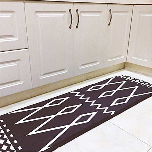 INCX No-Slip Runner Rug Kitchen rugs and mats for Floor for Kids Room Black and White 19.7 x 66.9 ()
