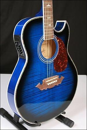 Lindo Slim Blue Electro Acoustic Guitar Dove Inlays