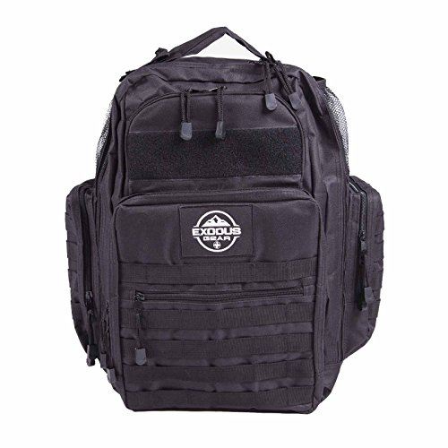 Tactical Diaper Bag Backpack by Exodus Gear + Diaper Bag + Changing Pad + Daddy Diaper Bag for Men or Women + Travel + Hiking Backpack Diaper Bag + Dad Diaper Bag (Black) by Exodus Gear