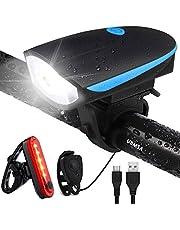 UBMSA Fietsverlichting, led-set met bel, waterdicht voorlicht en achterlicht, fietsverlichting met claxon, USB-oplaadbare fietslamp StVZO-goedgekeurde fietsverlichting