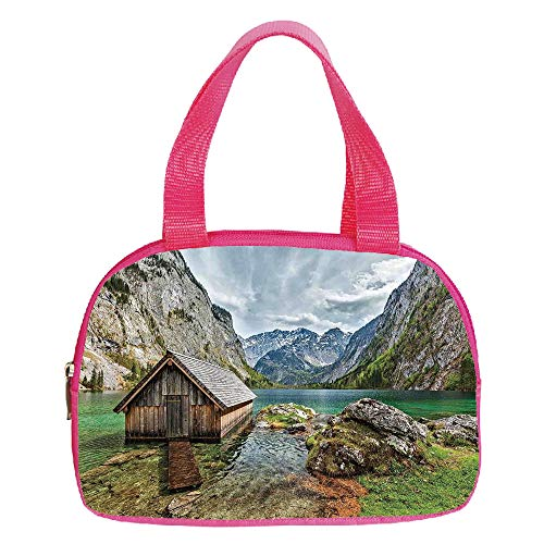 Multiple Picture Printing Small Handbag Pink,Lake House Decor,Dock on the Lake with Small shed between Alpine Mountains in Germany European Nature Photo,Multi,for Girls,Comfortable Design.6.3
