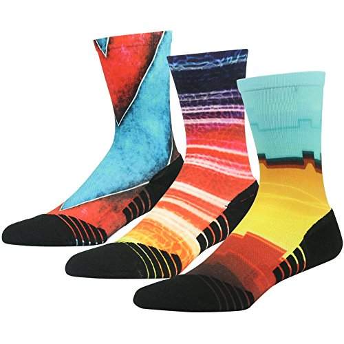 Mid Calf Toe Socks (Funky Crew Socks HUSO Art Pattern Quick Wicking Lightweight Athletic Mid Calf Socks 3 Pairs (Multicolor, L/XL))
