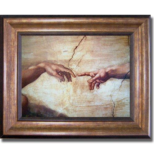 Artistic Home Gallery Creation of Adam (Detail) by Michelangelo Premium Bronze-Gold Framed Canvas (Ready-to-Hang) from Artistic Home Gallery