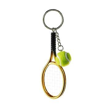kentop llavero Creative Raqueta de tenis llavero metal Llavero con colgante pequeño regalo para tenis entusiastas 3.7 * 12cm dorado