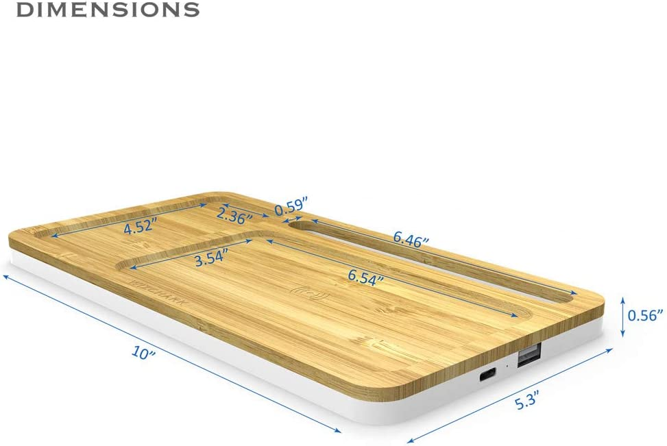 Cable Included, No AC Adapter Fast Charging Galaxy S10//S9//S8 Qi-Certified Charging Pad with Phone Holder Compatible with iPhone Xs//Max//XR//XS//X//8//8Plus WIZCHARK 10W Bamboo Wireless Charger