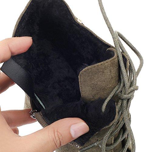 Talon Stiletto En Daim À Bout Pointu Bottines À Lacets Femme Sexy Glissière Latérale Buckcle Bootie Vert