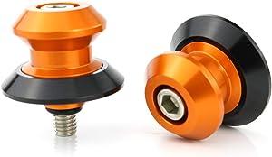 Xitomer 2 PCS M10X1.5 Swing Arm Sliders/Spools, for KTM DUKE 690 DUKE 790 1290/990 Supermoto/ 1090ADVENTURE/ 1290 SUPER ADVENTURER, Paddock Stand Bobbins (Orange)