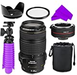 Professional Accessory Kit with Canon EF 70-300mm f/4-5.6 IS USM Lens w/ Auto Focus 2x Teleconverter Lens and HD UV Filter for Canon EOS 7D Mark II, 60D, 70D, 80D, 6D, 5D Mark III Digital SLR Cameras