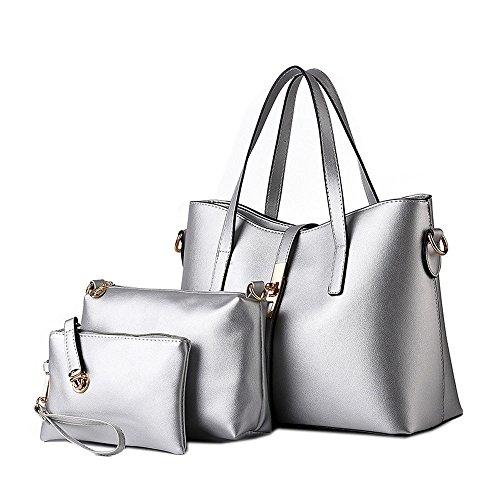 DELEY Fashion Women Tote Handbag Shoulder Bag Ladies Office Briefcase Shopper Silver(3 in 1)