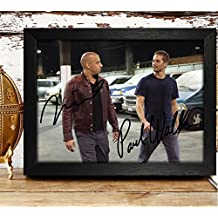 FRAMED Paul Walker & Vin Diesel Signed Autographed Photo 4x6 Reprint RP PP - Fast & Furious
