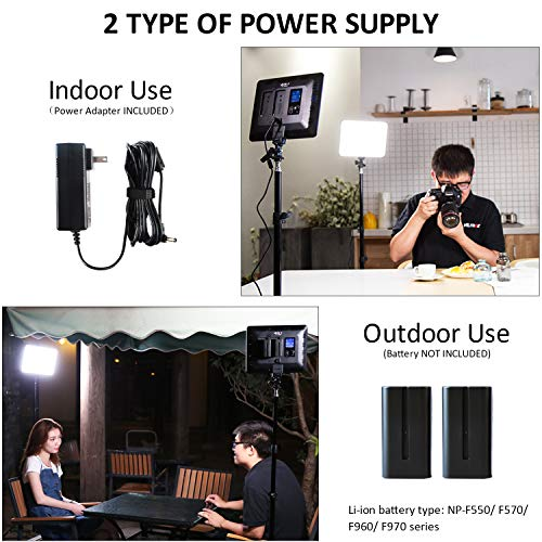 VILTROX 2-Pack VL-200 3300K-5600K CRI95 Super Slim LED Video Light Panel Photography Lighting Kit with Light Stand, Hot Shoe Adapter, Remote Controller, AC Adapter for YouTube Studio Video Shooting ... by VILTROX (Image #3)