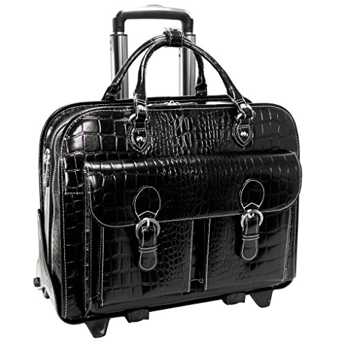 Leather Ladies Laptop Case - Siamod SAN MARTINO 35305 Black Leather Ladies' Detachable-Wheeled Laptop Case