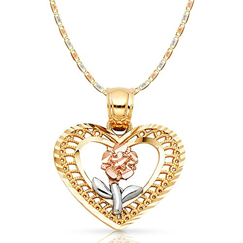 14K Tri Color Gold Flower in Heart Charm Pendant with 2.1mm Valentino Chain Necklace - 16