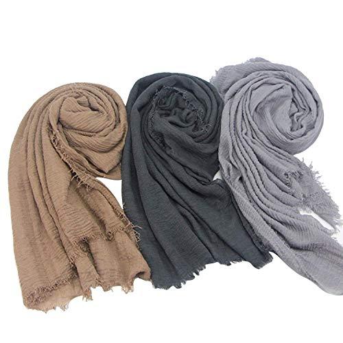 Axe Sickle Soft Cotton Hemp Scarf 3pcs, Wrap Shawl Outdoor Beach Towel Women All Seasons Wrap, Travel Sunscreen Stylish Hijab Scarf Lightweight Warm Big Head Scarves Muslin.