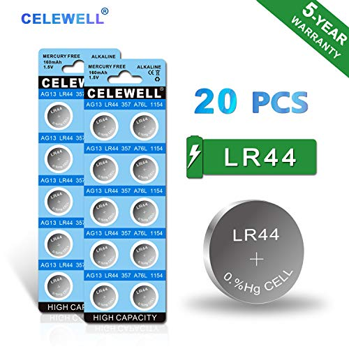 【5-YEAR WARRANTY】CELEWELL LR44 AG13 357 A76 1.5V Button Cell Battery (20-Pack)