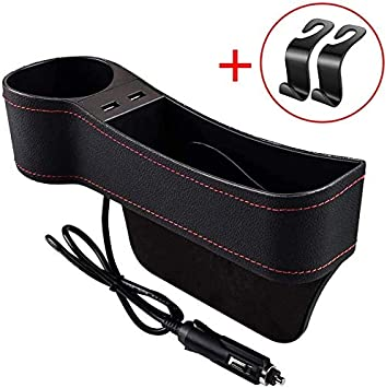 Sunglasses Wallets CAMTOA Car Seat Gap Filler,Multifunctional Car Seat Organizer with Cup Holder PU Leather Seat Console Side Pocket Storage Box for Cellphones Driver Seat Keys Cards