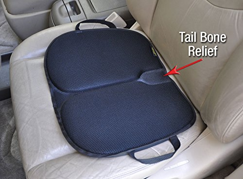 Auto Car Seat Cushion - orthopedic ergonomic - best for drivers and anyone sitting for long durations - folds, lightweight, handles, waterproof, tailbone pressure relief with patented gel