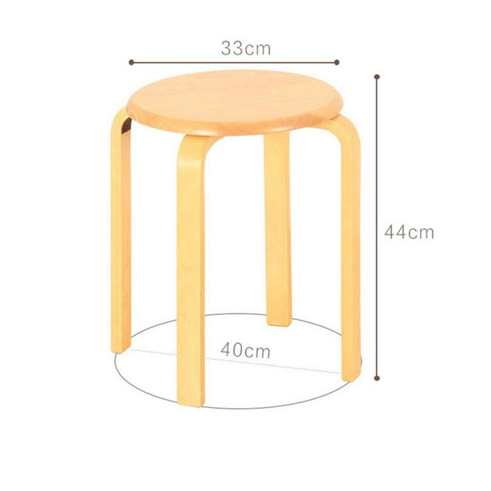 Wood BYCSD Stackable Small Round Stool Home Dining Stool Solid Wood Low Bench,Easy Assembly,33 X H 44cm (color   bluee)