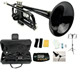 Merano B Flat Black / Silver Trumpet with Case+Mouth Piece+Valve Oil+Metro Tuner+Black Music Stand+Trumpet Stand