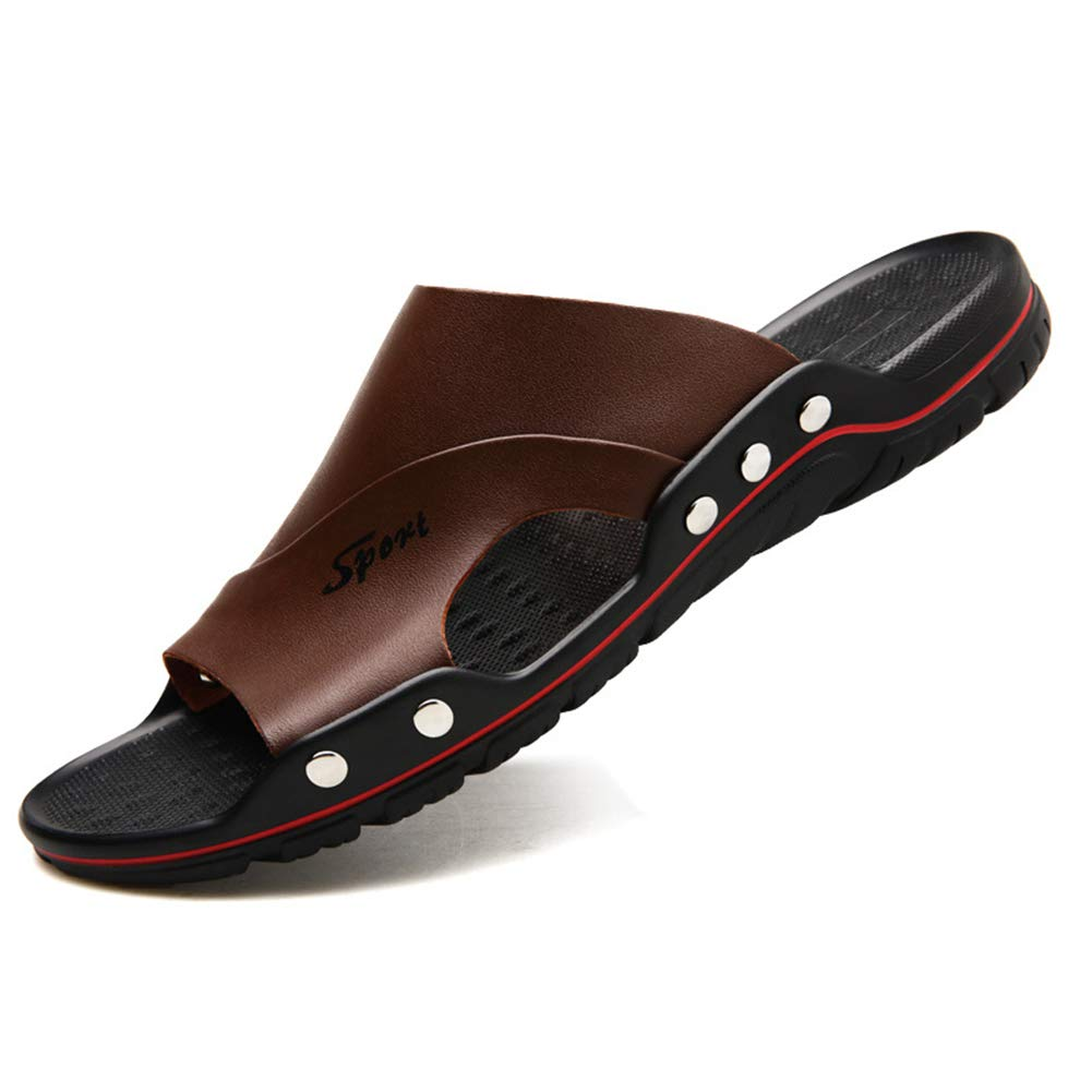 Mobnau Mens Outdoor Leather Beach Slide Sandals Sandles