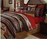 4 Piece Southwest Inspired Design Comforter Set Full Size, Featuring Jacquard Horizontal Lines Solid Pattern Comfortable Bedding, Traditional Stylish Bedroom Decoration, Brown, Blue, Multicolor