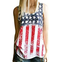 Hot ! New Fashion Women Print American Flag Blouse, Ninasill Exclusive Beautiful Sleeveless Tank Crop Tops Vest Blouse T-Shirt (M, Multicolor)
